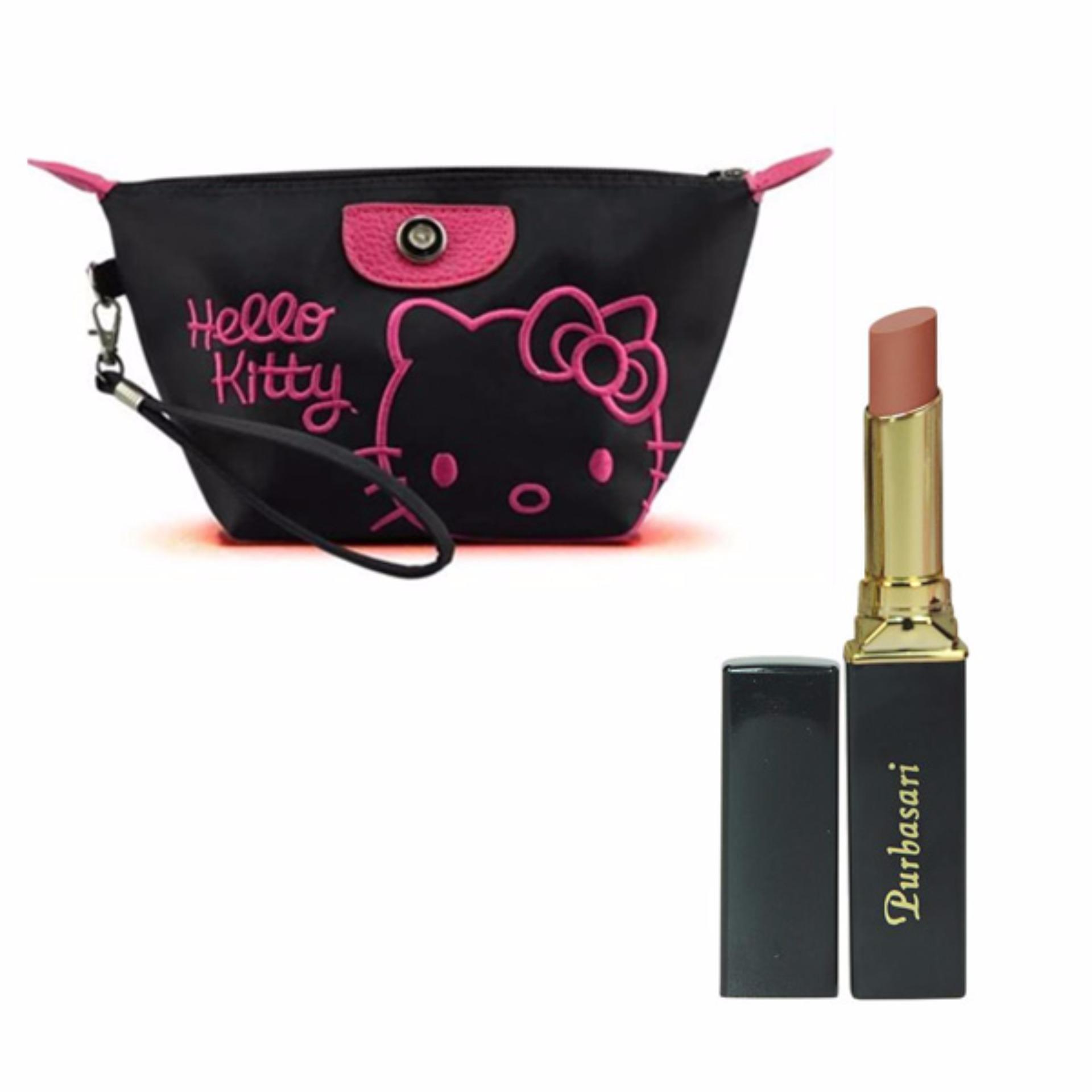 Purbasari Lipstick Color Matte 81 Free Alisha Tas Kosmetik Mini206 Hitam