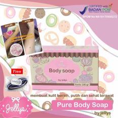 Pure Body Soap by Jellys BPOM Sabun Pemutih - 100 gram - 1pc + Free Polkadope Ikat Rambut - 1 Pcs