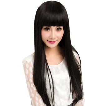 Rambut wig dengan poni lurus datar yang panjang untuk Pesta Natalcosplay  Halloween Hitam de8dcd8e2b