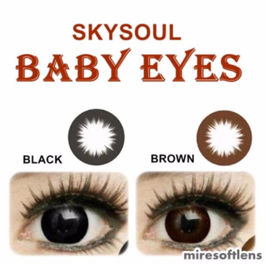 Sky Soul Baby Eyes Softlens - Black + Gratis Lenscase + Cairan 60ml .