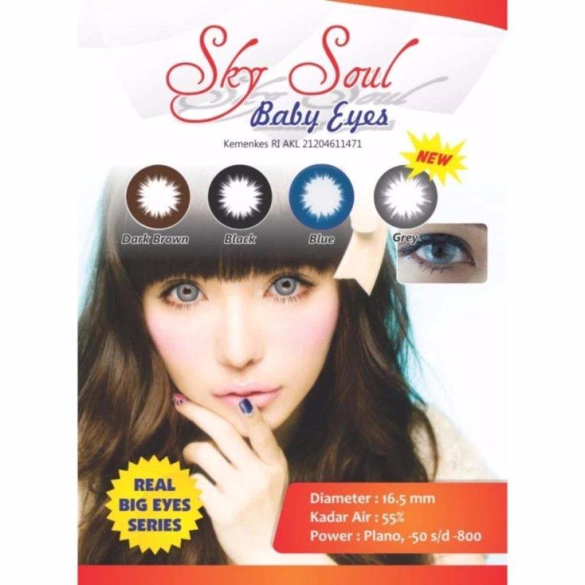 Sky Soul Baby Eyes Softlens Blue Gratis Lenscase Cairan 60ml .