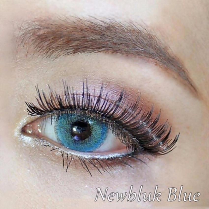 Softlens Newbluk - Blue Gratis Lenscase + Cairan Soflens 60 ml