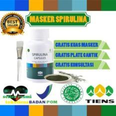 Spirulina Masker Wajah alami Tiens 20 kapsul (gratis 1 kuas cantik) paling ampuh hilangin jerawat