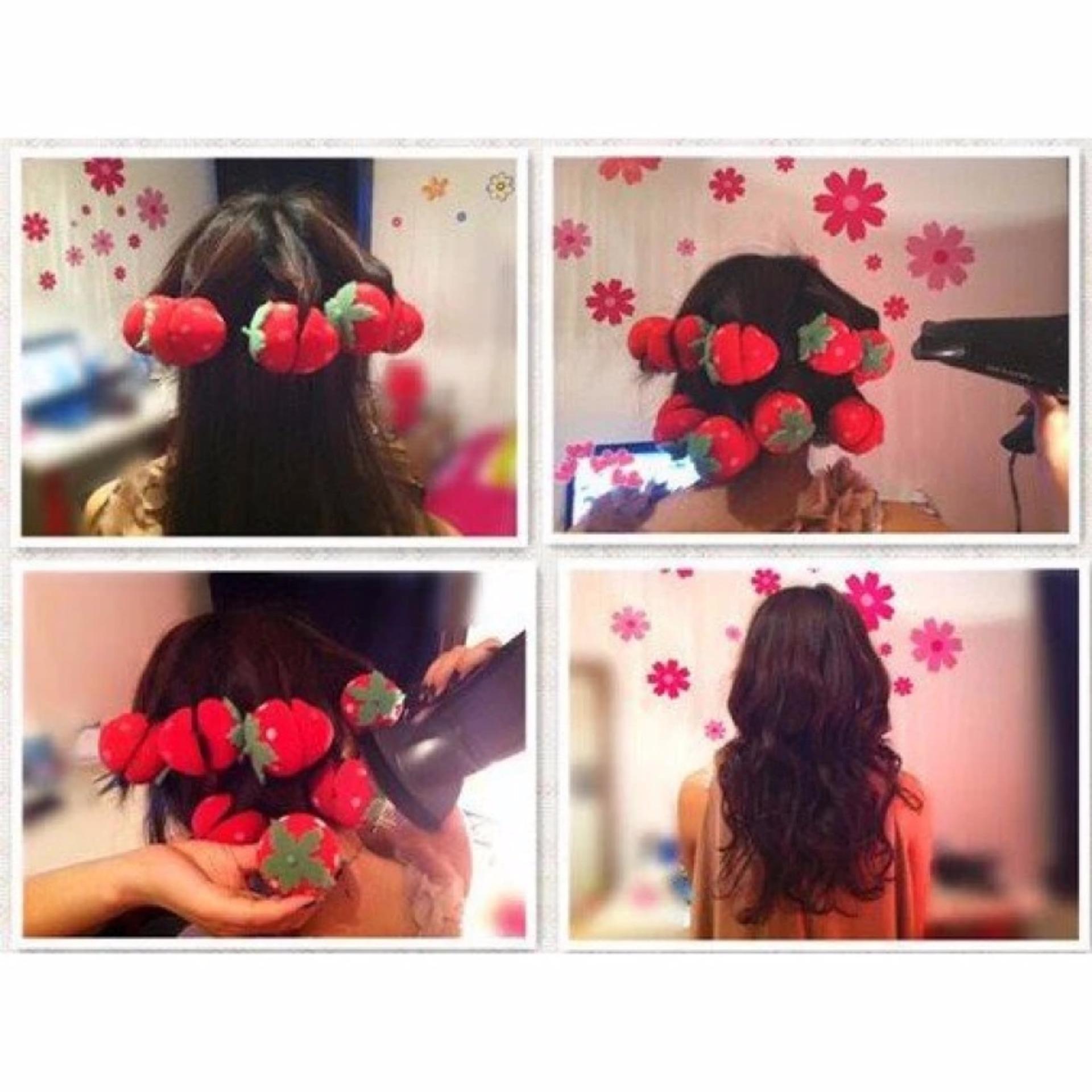 Online Murah Sponge Strawberry Roll Hair Curler Rambut Ikal Alami Catokan In Styler Rotating Iron Flash Sale Tanpa Catokisi 6 Pcs