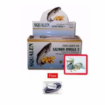 SQUALEN Fish Liver Oil Salmon Omega 3 / Minyak Ikan Salmon - 100 kapsul / 1Kotak