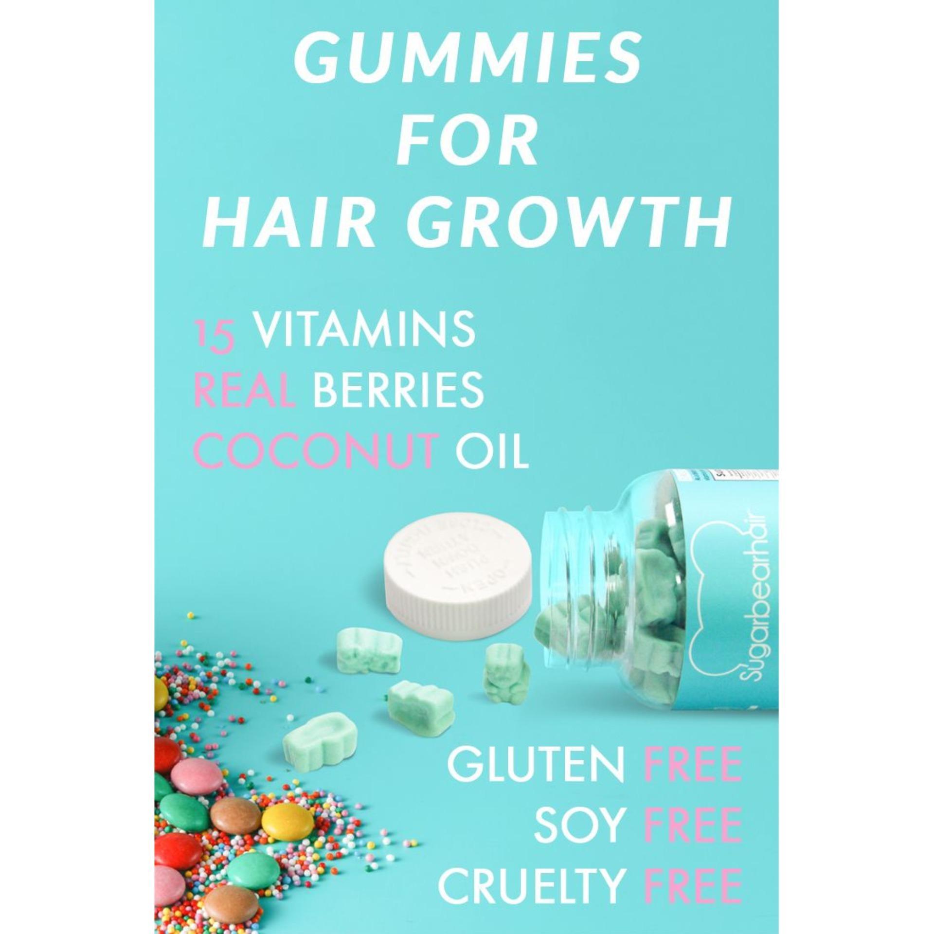 Sugar Bear Hair Vitamin untuk Rambut Panjang dan Halus bentuk Gummy Bear Original .