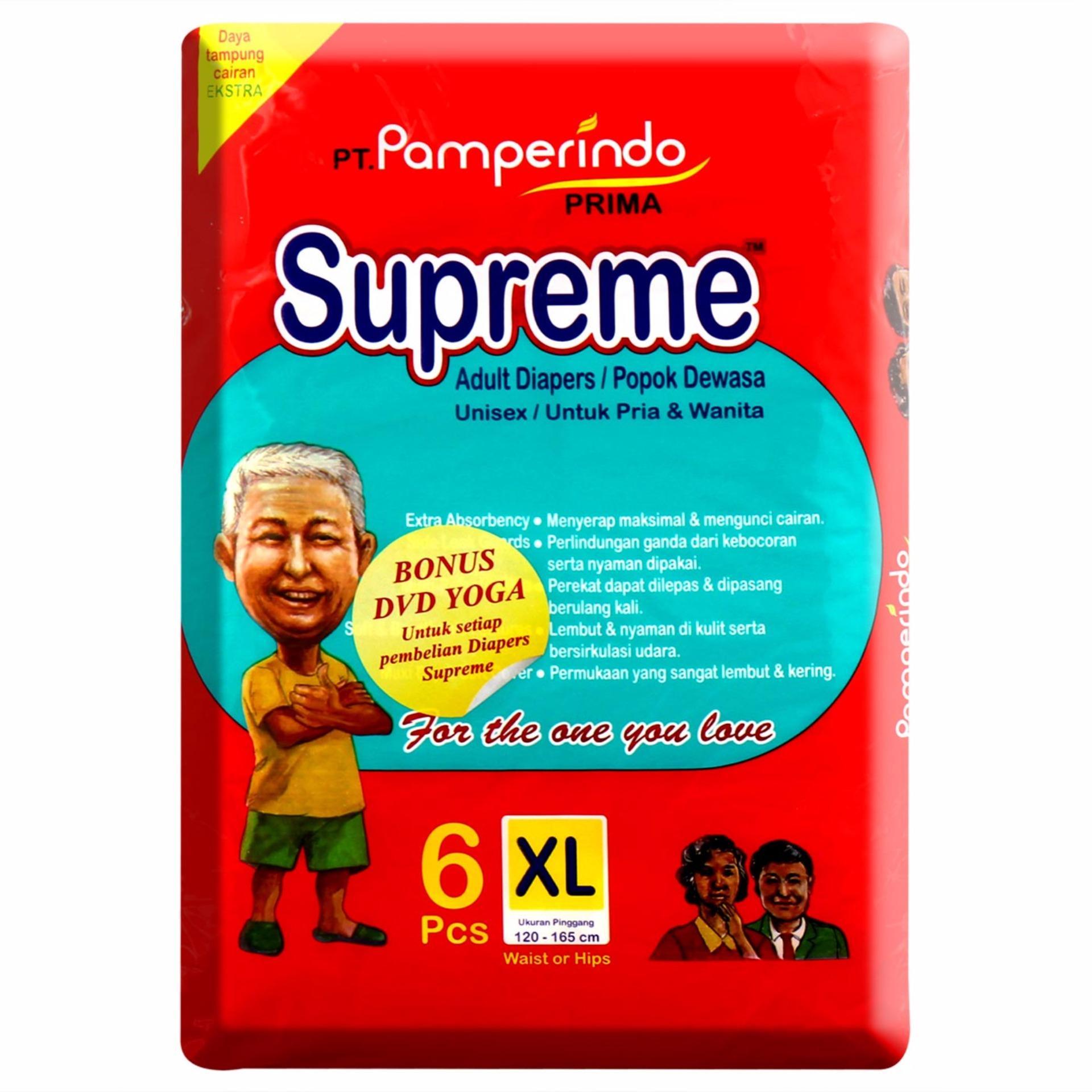 Pencari Harga Supreme Popok Dewasa Size Xl Isi 6pcs Paket 4 L 10pcs