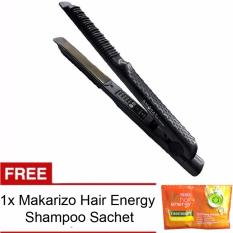 Techno 2in1 Catok Rambut Lurus Ikal Keriting Hair Straightener & Curly Catokan FREE 1 sachet Makarizo Hair Energy Shampoo - Hitam
