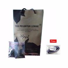 Teh Peluntur Lemak - 1 Box Isi 60 Pcs + Free Ikat Rambut Polkadope - 1 Pcs