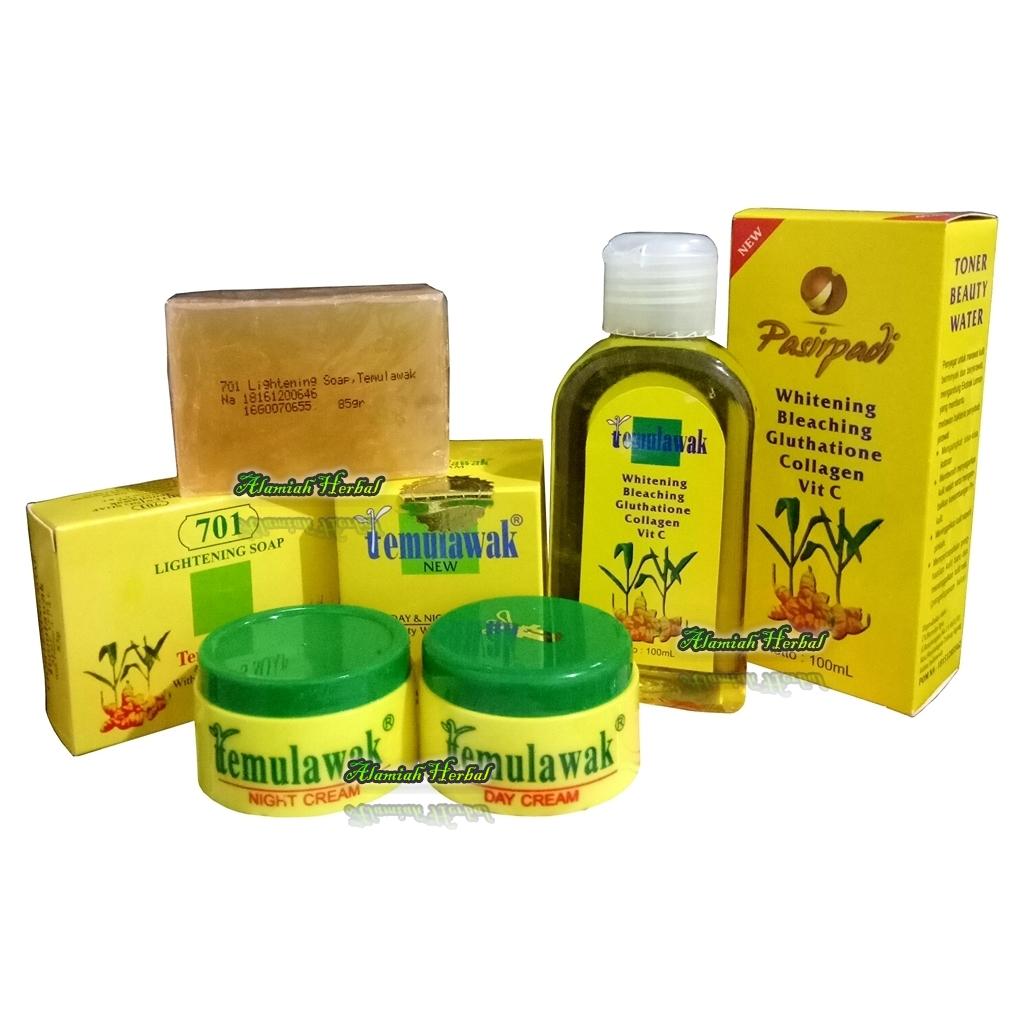 Flash Sale Temulawak Paket Cream Siang Malam Hologram Emas Original Plus Sabun temulawak dan Toner Pasir padi