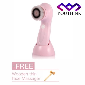 USB Rechargeable Electric Rotating Facial Cleansing Brush Pink [Buy 1 get 1 free wooden face massager] - intl