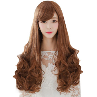 Harga Wanita Cosplay Miring Poni Panjang Ikal Bergelombang Rambut WigBerwarna Kuning Muda Murah
