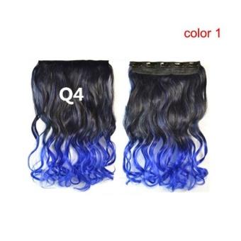 Wanita Long Curly bergelombang sopak wig dengan rambut klip