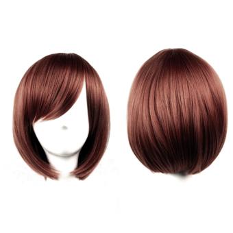 Harga Wanita pendek lurus Bob rambut wig Halloween kostum cosplay untukPesta Natal Coklat Murah