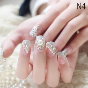 Wedding Bride Full Nail Tips False Stikers Gel Shimmer Fake Nails24PC 3D Colour4 - intl .