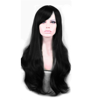 Harga YBC Perempuan Wig Sintetis Gelombang Panjang Penuh Renda Cosplay Wig (Hitam) Murah