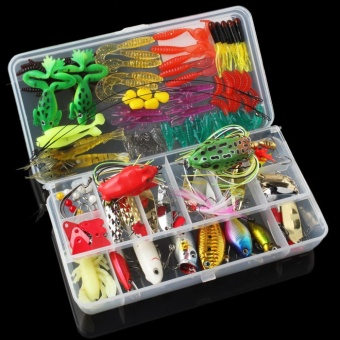 131pcs Fishing Lures Kit Mixed Hard Lures Soft Baits Minnow Crank Popper VIB Sequins Wobbler Frog Lure with Box - intl