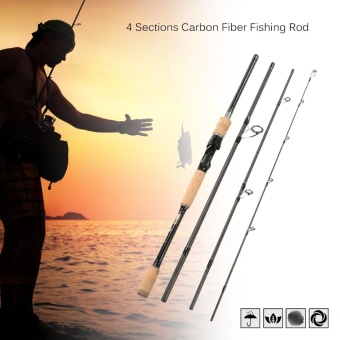2.1m 4 Sections Carbon Fiber Portable Baitcasting Spinning Fishing Rod Medium Rod Fishing Pole for Saltwater and Freshwater - intl