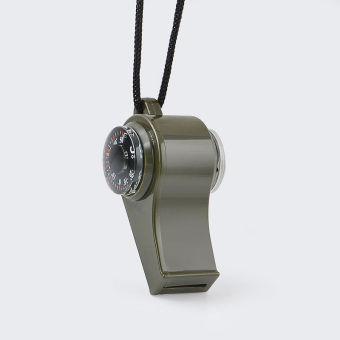 3-in-1 berkemah mendaki peralatan Survival peluit darurat kompastermometer - 4