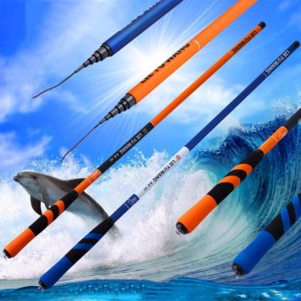 3.6M Carbon Fiber Telescopic Fishing Hand Rod Fishing Rod for Saltwater Freshwater,Orange +Blue - intl