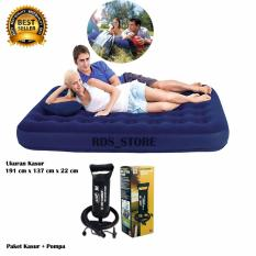 Bestway Kasur Angin Double - Blue + Pompa Angin 12
