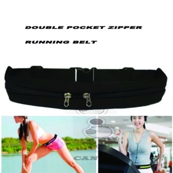 CantiQue Double Bag Sport Waterproof Sack Waist Sport Tas PinggangSabuk Tas Gesper Anti air Olahraga Running Waist Bag jogging MobileBelt - Hitam