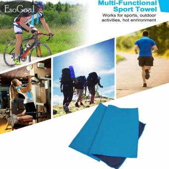 Harga EsoGoal Cooling Towel, Instant Icy Cooling Chilly Towel for Sports, Workout, Fitness, Gym, Yoga, Pilates, Travel, Camping & More (Blue) - intl