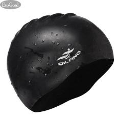 EsoGoal renang topi rambut panjang renang topi tahan air  silikon Hat untuk wanita dewasa dan pria (hitam)