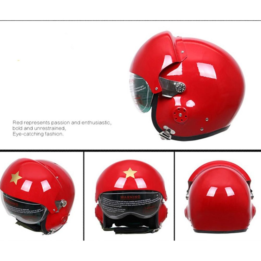 Glass Fibre Reinforced Plastic Pilot Motorcycle Electric Car Winter Helmet for Men and Women Color:Red Specification:Free Size - intl
