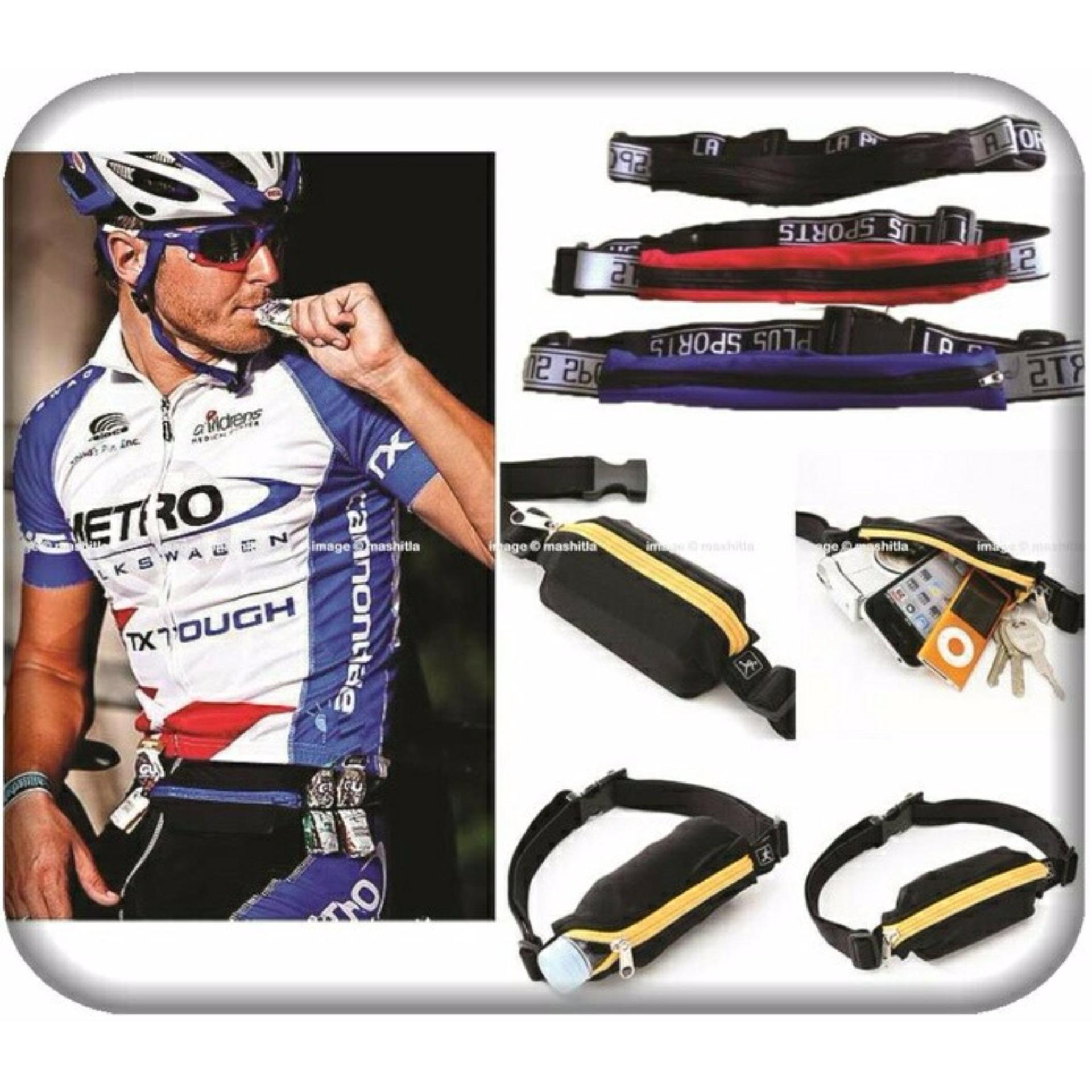 GO BELT BREWYN- belt/ikat pinggang multifungsi untuk sport/travelling - STRIPE PINK