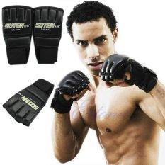Gym MMA pelatihan Muay Thai sansak tinju sarung tangan setengah Mitt perdebatan - International