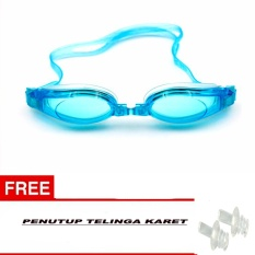 Icantiq Kacamata Renang Dewasa Anti Fog Anti UV Shield Adult Protection Swimming Goggles Waterproof Adjustable Swim Glasses For Girls Boys / Kaca Mata Renang Dewasa / Kacamata Renang  Swimming Goggle Warna Bonus Gratis Tutup Telinga Karet - Biru