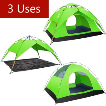 Harga 3-4 Person Tents Automatic Windproof Waterproof Double Layer Tent Ultralight Outdoor Hiking Camping Tent Picnic Tents (Green) - intl