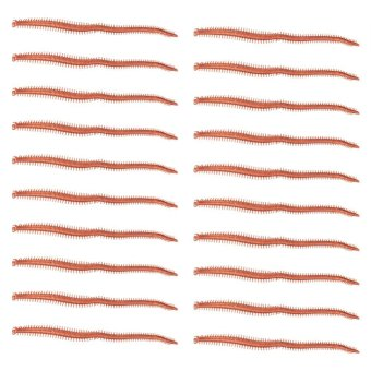 Harga 20pcs Soft PVC Life-like Worm Shaped Fishing Lures Tackle Soft Baits (brown) - intl