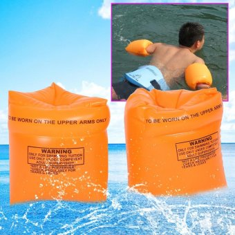 Harga 1 Pair Safty Water Pool Swimming Inflatable Arm Bands Rings Floats - intl