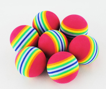 Harga 50pcs Rainbow Stripe Foam Sponge Golf Balls Swing Indoor Practice Training Aids Ball Light-weight