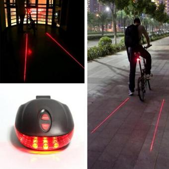 Harga HengSong Rainbow Bicycle 5 LED Light 2 Lasers Night Mountain Bike Tail Light Taillight MTB Safety Warning Bicycle Rear Light Lamp Bycicle Light - intl