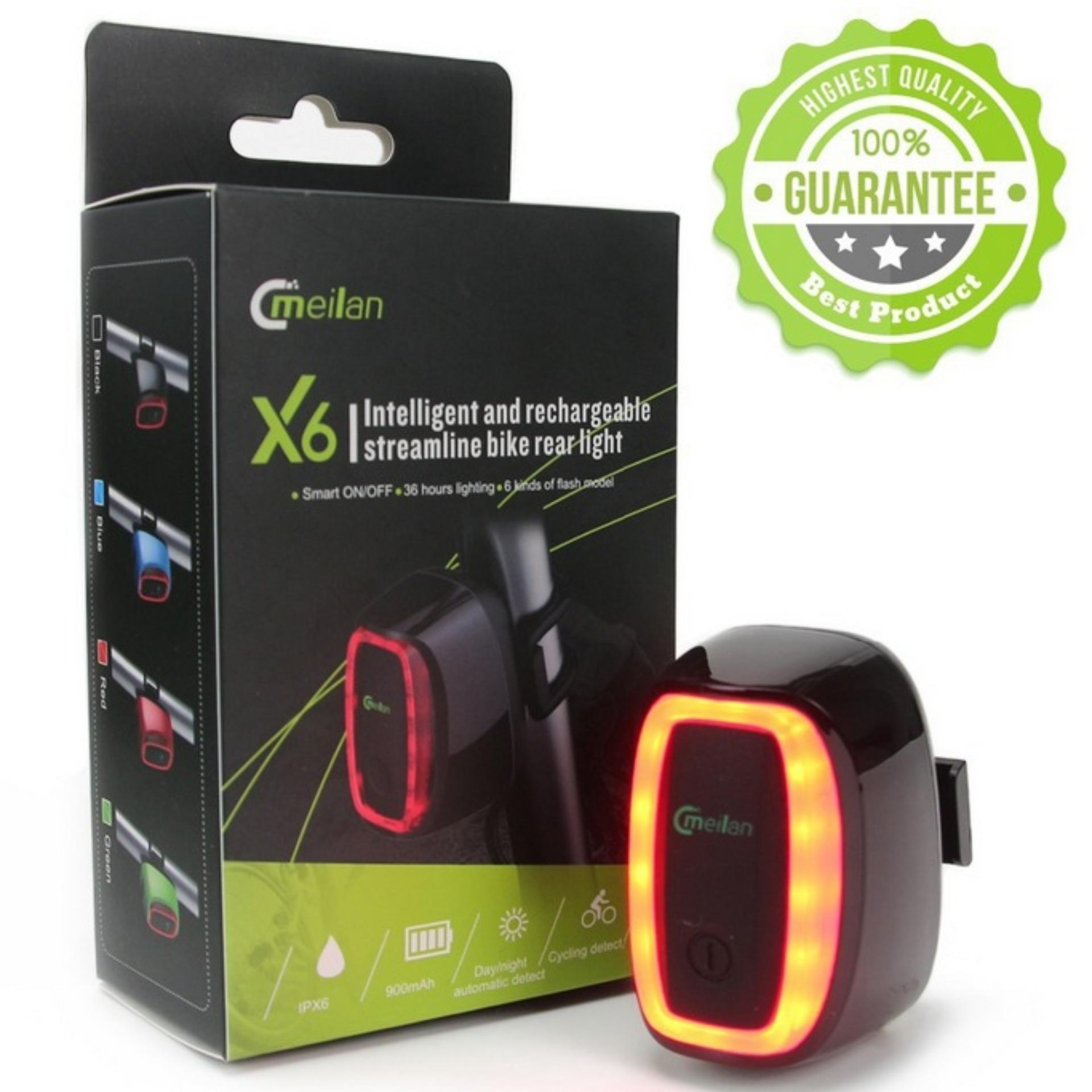 (Impor) isi ulang lampu sepeda USB Smart Sensor getaran IPX6Waterproof penyewaan lampu belakang 7