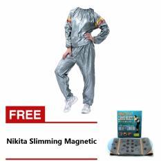 Lucky Sport Sauna Suit Baju Sauna Pembakar Lemak - Silver + Nikita Slimming Magnetic Belt And Massage - Korset magnet Pelangsing Perut - 1 Pcs
