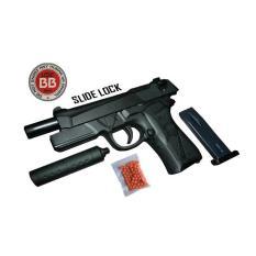 Mainan Pistol Kokang Air Soft Gun Mp900 Slide Lock Peredam