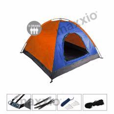 Maxxio Tenda Camping 3 Orang Ukuran 200cm x 150cm - Biru-Orange