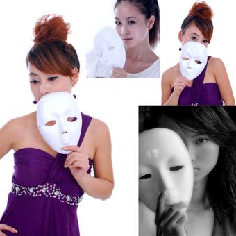Menakutkan Putih Masker Wajah Topeng Halloween Kostum Bola Dibetulkan Pantomim Pesta Topeng -