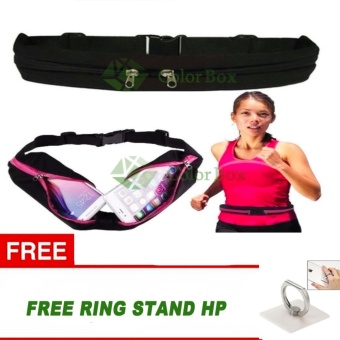 MR Double Bag Sport Waterproof Sack Waist Sport Tas Pinggang SabukTas Gesper Anti air Olahraga Running Waist Bag jogging Mobile Belt+ Free Holder Stand - Black
