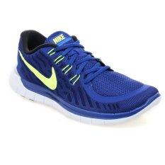 Nike Free 5.0 Sepatu Lari Pria - Deep Royal Blue-Volt-Racer Blue-Putih