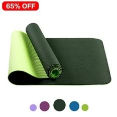 Non-slip Yoga Mat Oleh Farland-Eco Friendly Latihan Latihan Mat, Anti-air Mata Hot Pilates Pad Mats DI RUMAH & Gym (Tebal 6mm, Hitam Hijau) -Intl