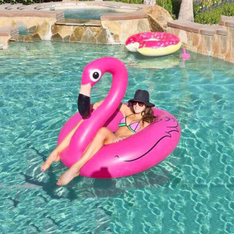 Orang Dewasa Floaties Flamingo Tiup Renang Kursi Air Lifebuoy