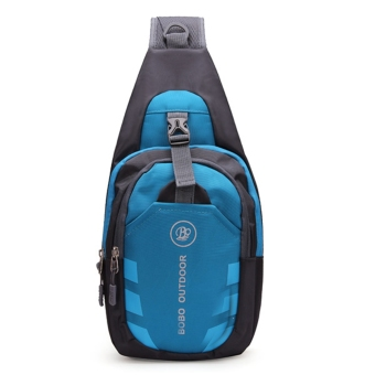 Outdoor Men Waterproof Nylon Chest Shoulder Bag Sport Running Messenger Backpack Blue - intl