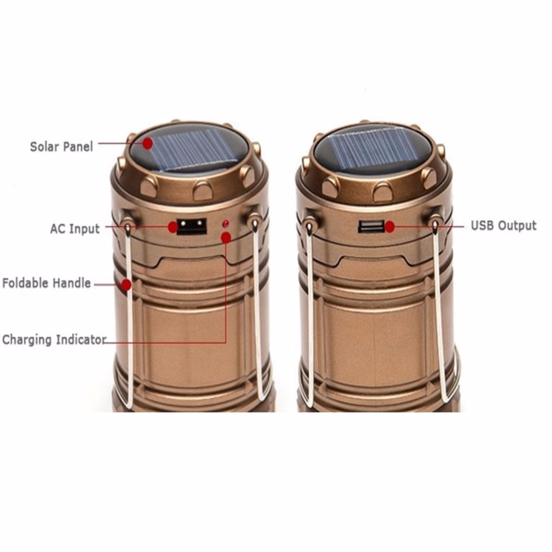... Prime Lampu Lentera Camping LED Solar - Rechargeable Emergency Lamp - Emas ...