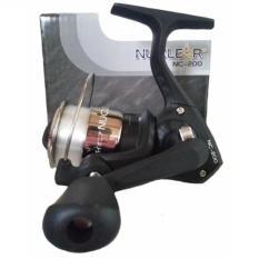 Reel Pancing Pioner Nuclear NC 200 dengan 2 Bearing include senar Gulungan Senar (Hitam/silver)