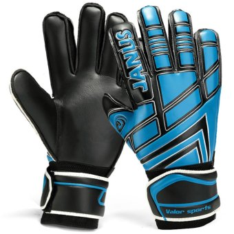 Size 7 8 9 10 Professional Goalkeeper Gloves With Finger ProtectionThickened Latex Soccer Goalie Gloves Football Goal Keeper Gloves(Black Blue) - intl